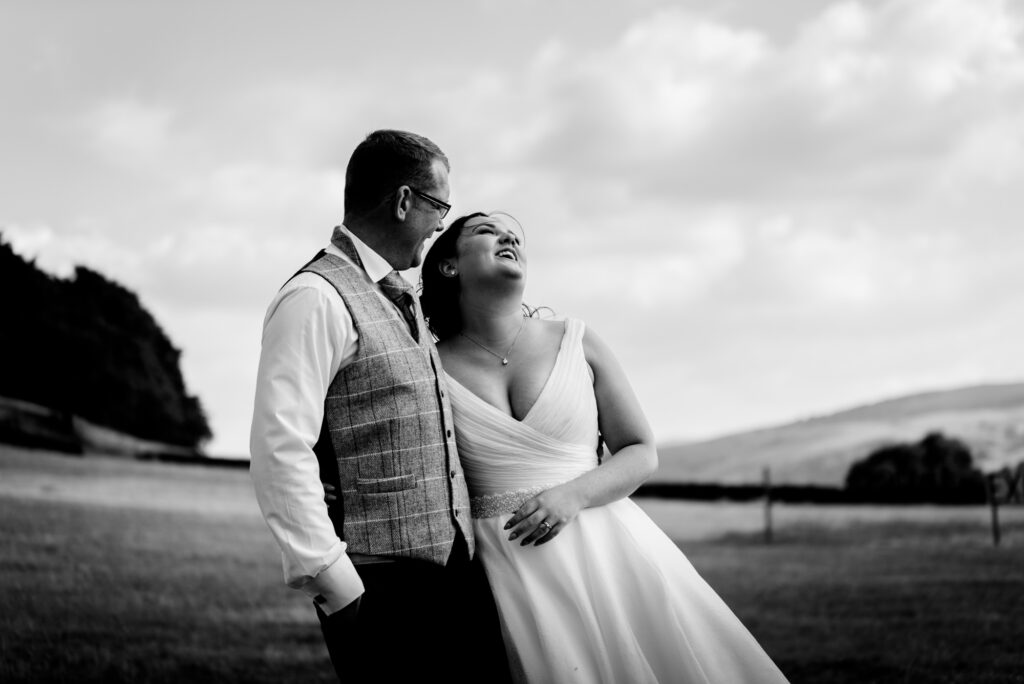 relaxed wedding portrait at Thornsett Fields Farm