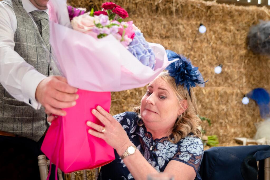 Mum receiving a bouquet