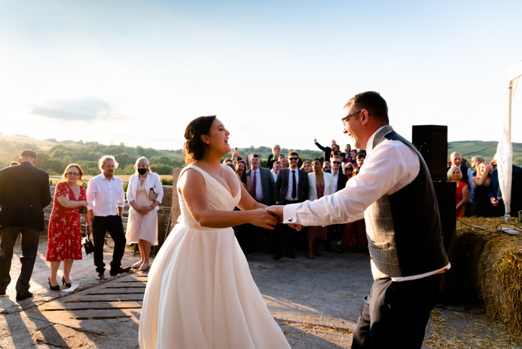 Bride and groom dancing at Thornsett Fields Farm