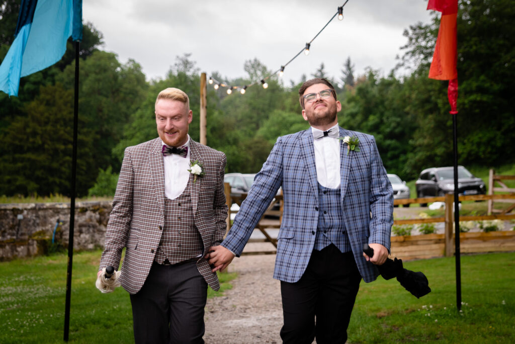 Grooms looking excited to go to their ceremony