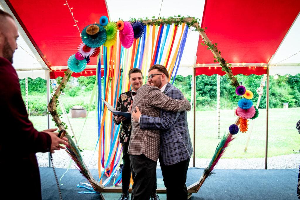 Same sex wedding  at Gisburn Park Estate