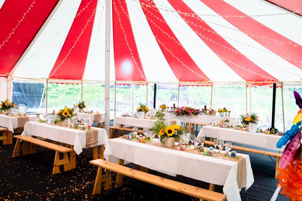 table setting in a circus ten  at Gisburn Park Estate