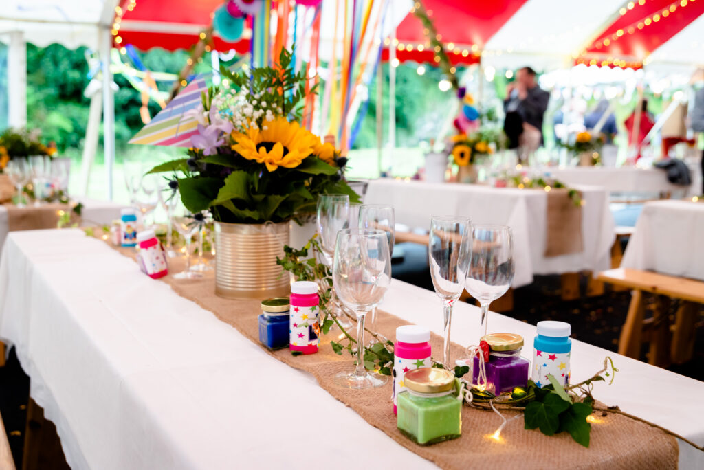 Circus themed wedding table decorations  at Gisburn Park Estate