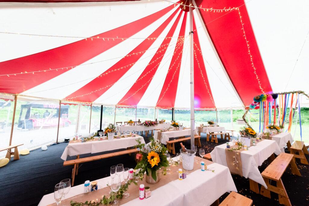Colourful Wedding tables  at Gisburn Park Estate
