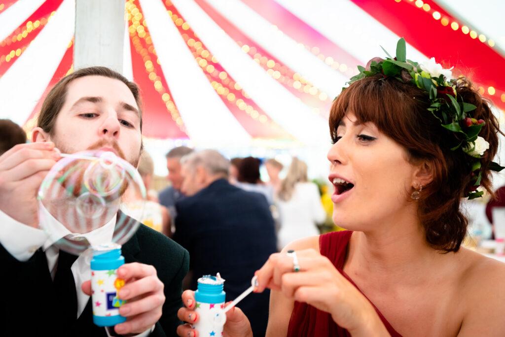 Guest blowing bubbles