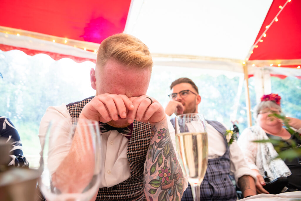 Groom crying during the speeches at Gisburn Park Estate