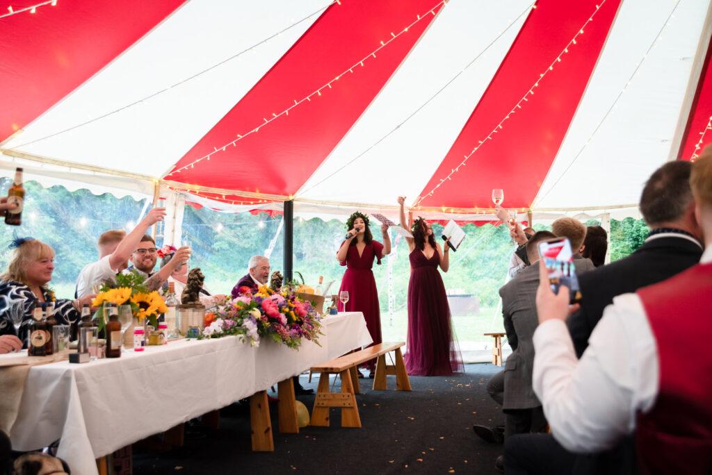 Bridesmaids making a speech at Gisburn Park Estate