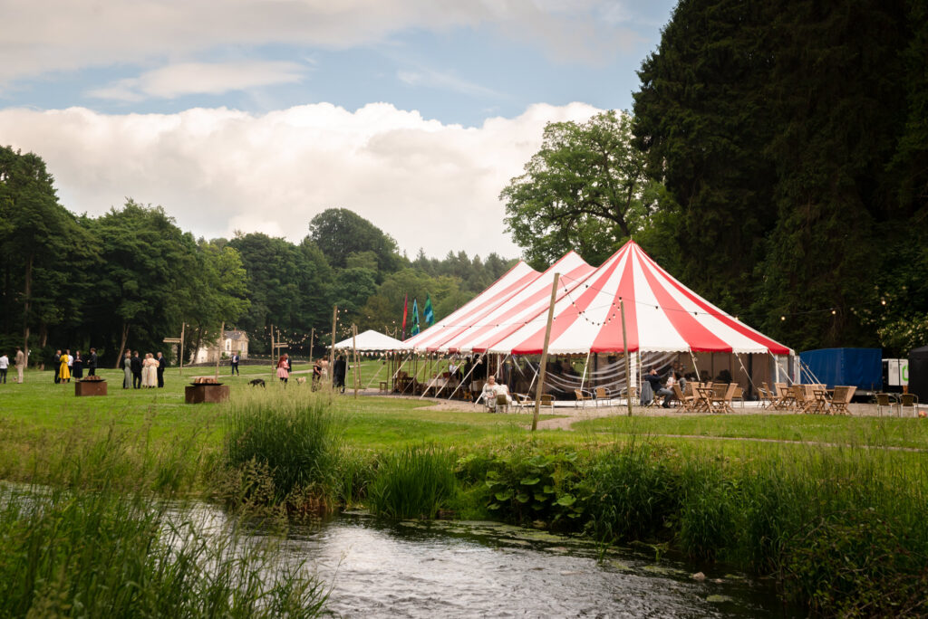 Circus tent wedding at Gisburn Park Estate