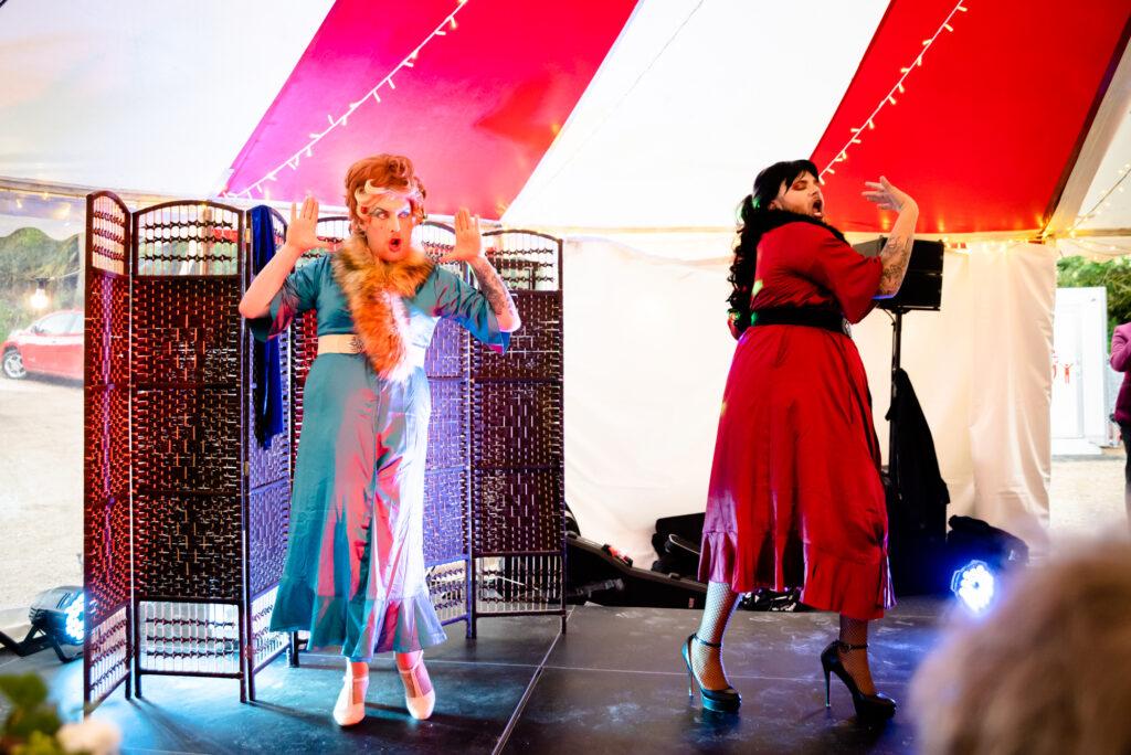 Drag show and a lip sync at Gisburne Park Estate