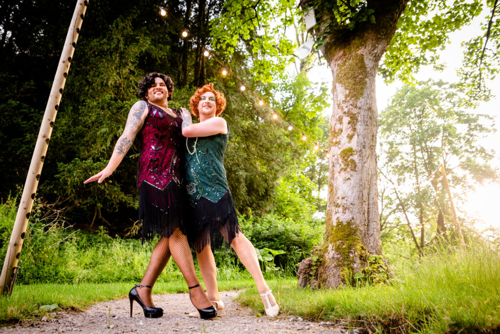 Grooms dancing in drag at Gisburne Park Estate
