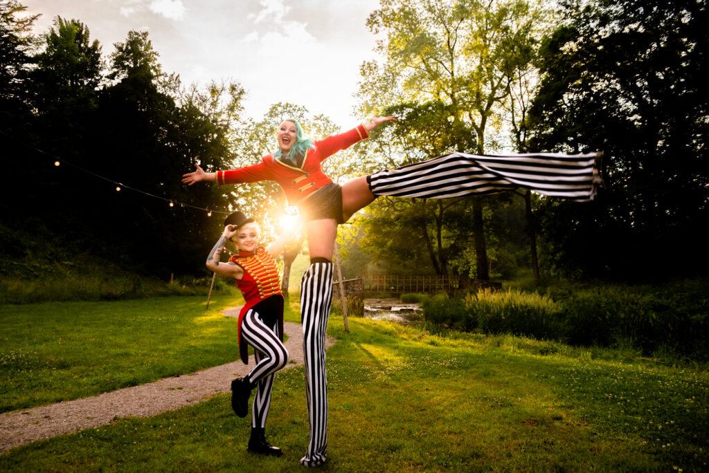 Circus performers at Gisburne Park Estate
