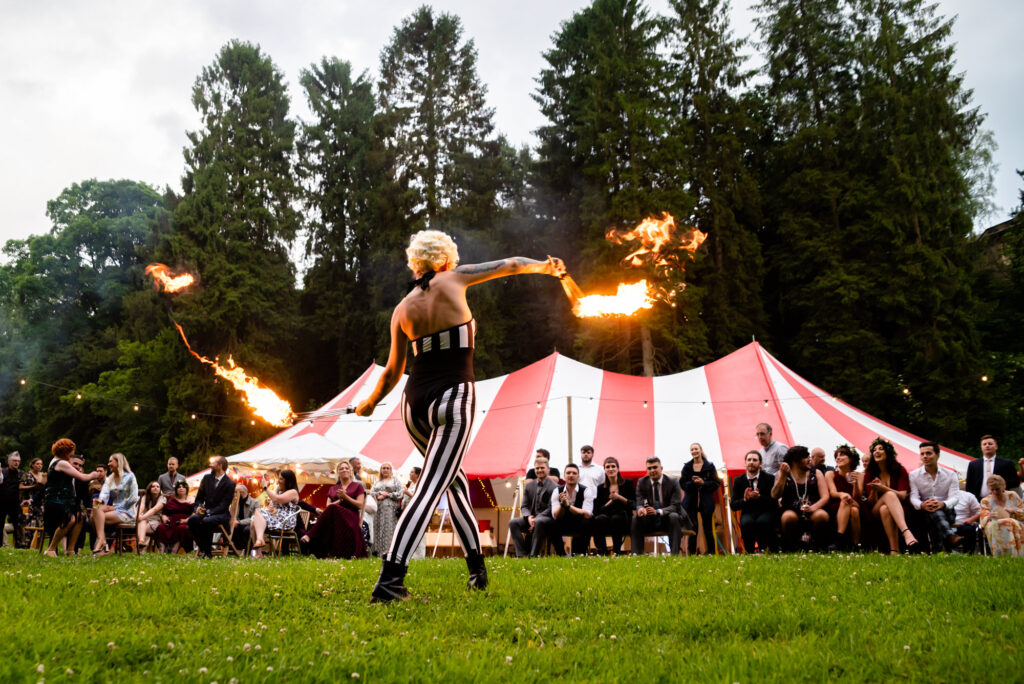 Fire breather at circus themed wedding