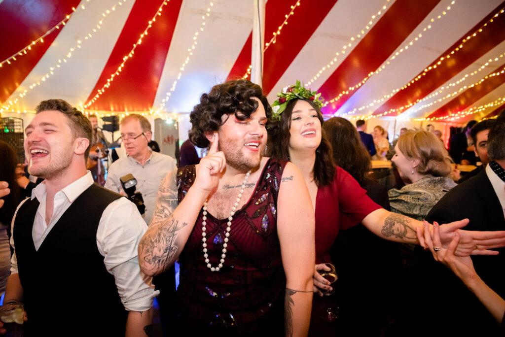Wedding party in drag at Gisburn Park Estate