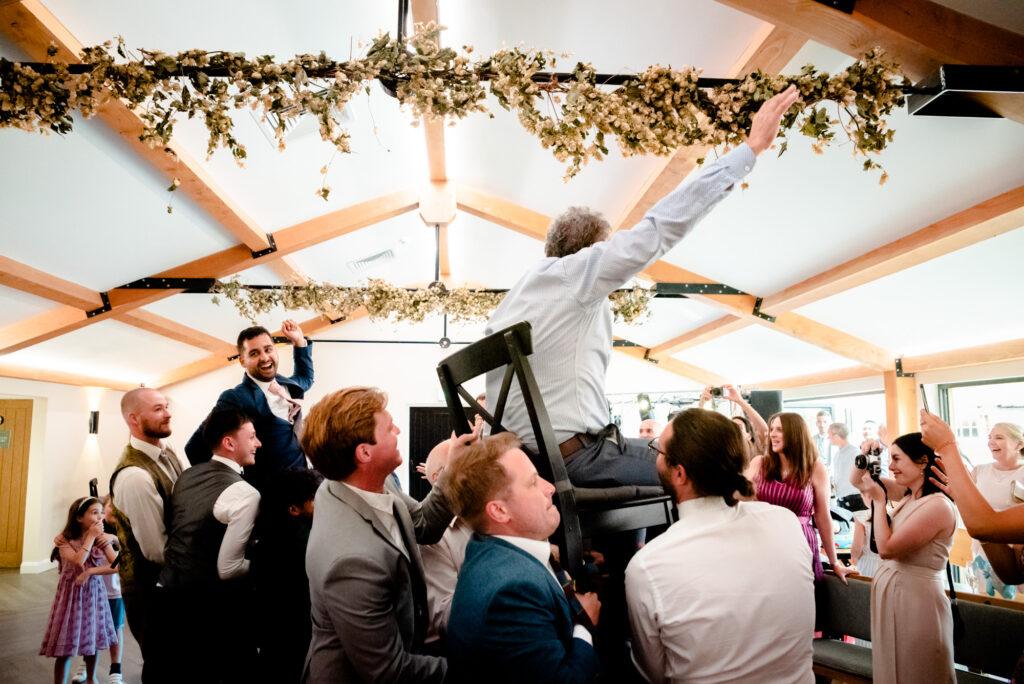 The hora dance at Hanbury Wedding Barn