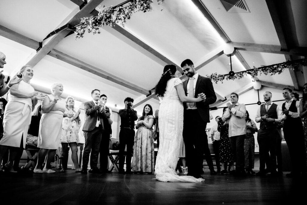 First dance at Hanbury Wedding Barn