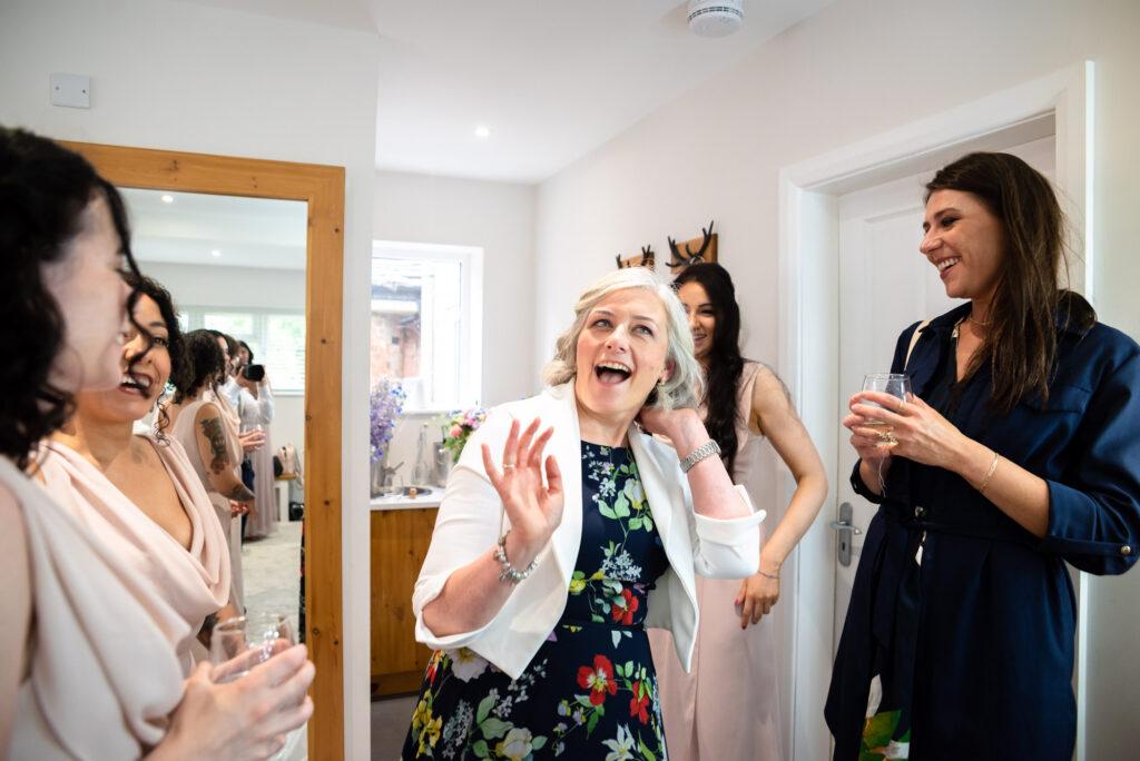 Fun at the bridal prep at Hanbury Wedding Barn