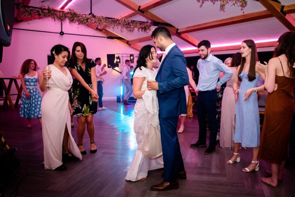 Bride and groom slow dance