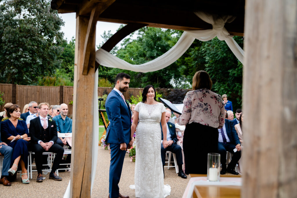 Civil ceremony at Hanbury Wedding Barn