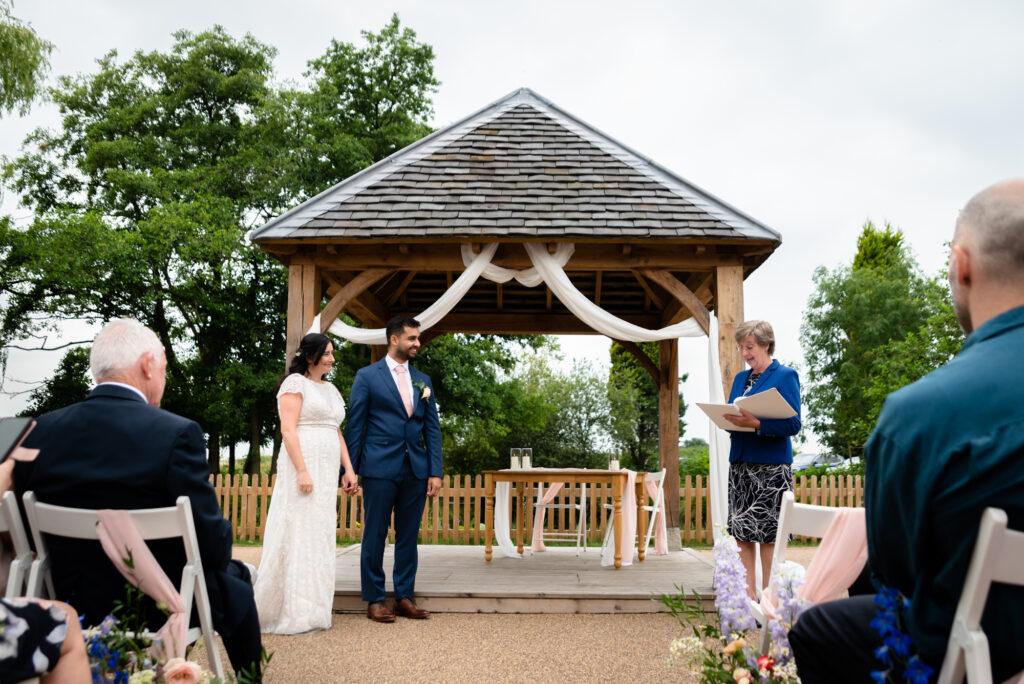 Outdoor humanist ceremony at Hanbury Wedding Barn