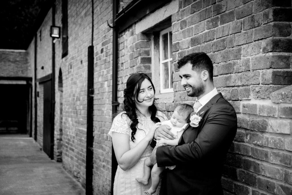 Family portrait at Hanbury Wedding Barn