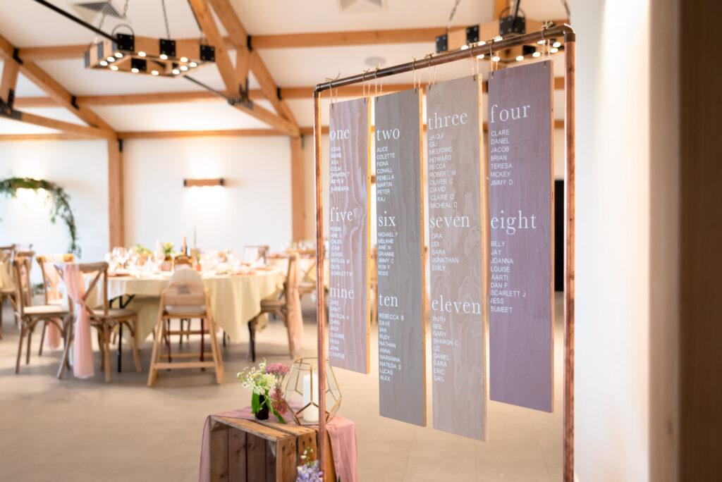 Table plan at Hanbury Wedding Barn