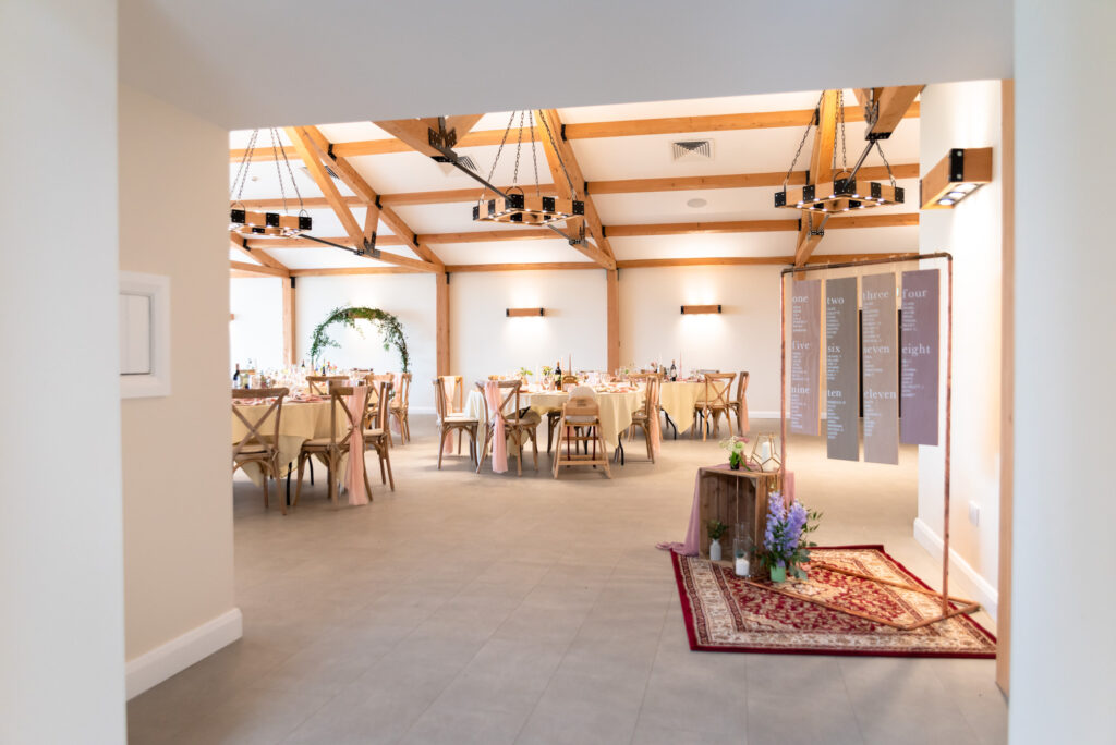 Wedding reception room at Hanbury Wedding Barn