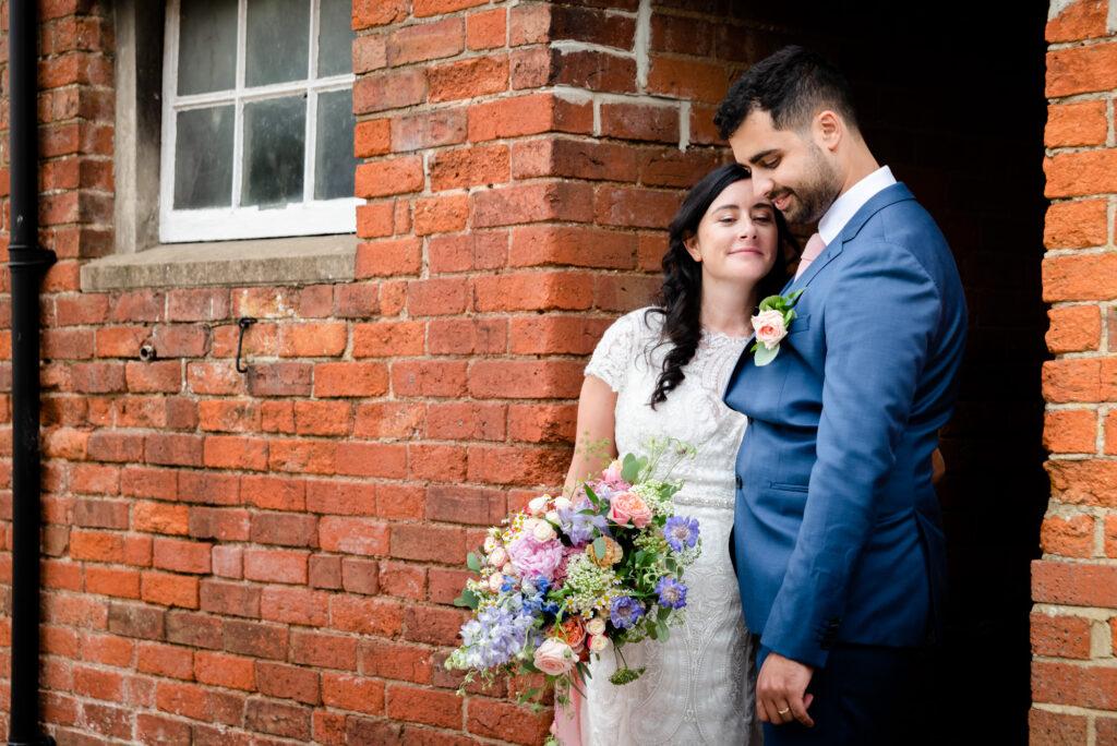 Bridal portrait at Hanbury Wedding Barn