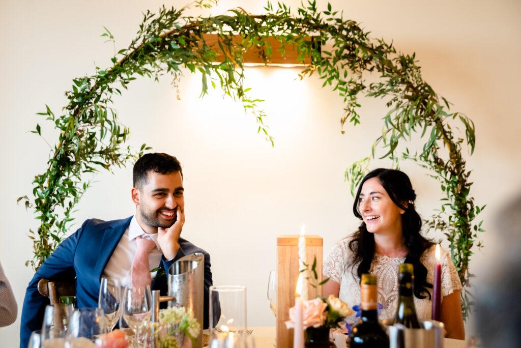 Top table at Hanbury Wedding Barn