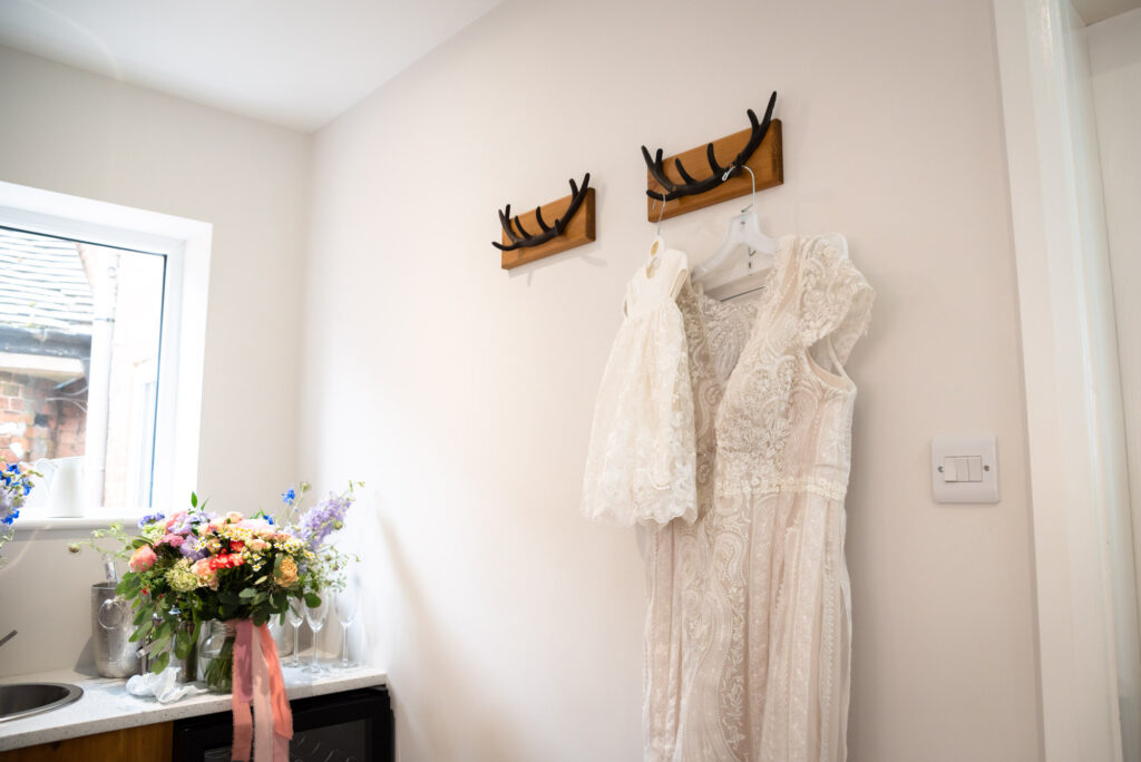 Bride's dress and baby dress