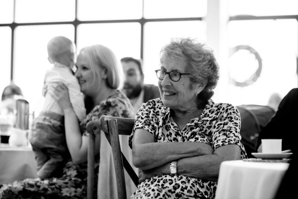 Grandma listening to the speechesDad speech at Hanbury Wedding Barn