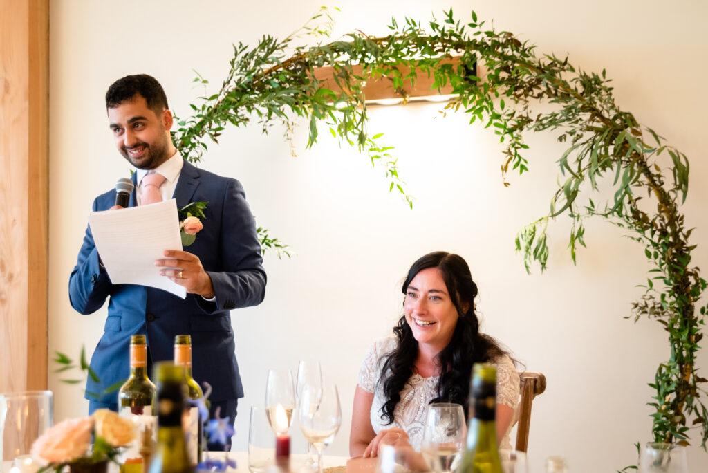 Groom speech at Hanbury Wedding Barn