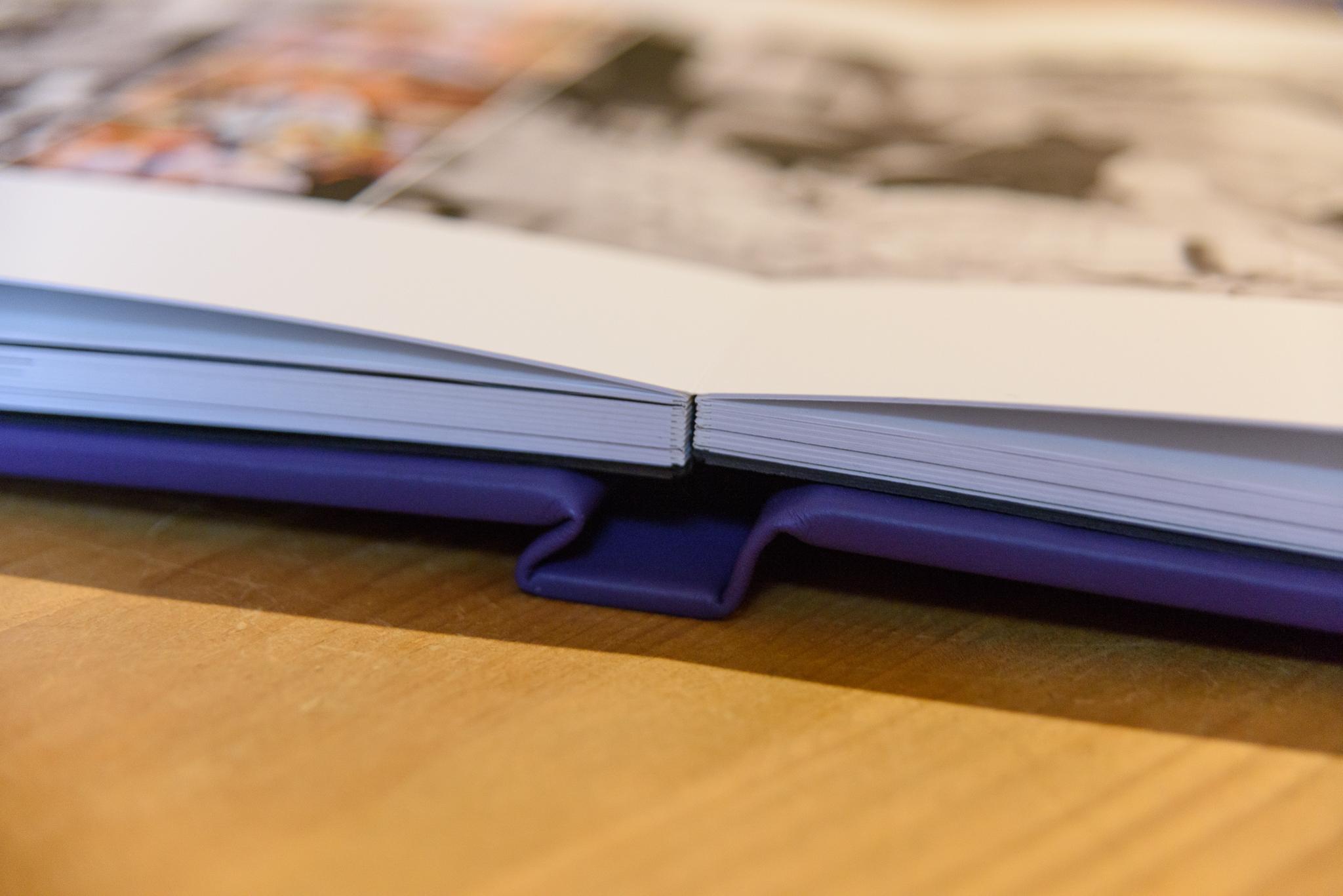 wedding album spine with purple cover