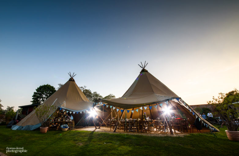 Tipi wedding in the sunset