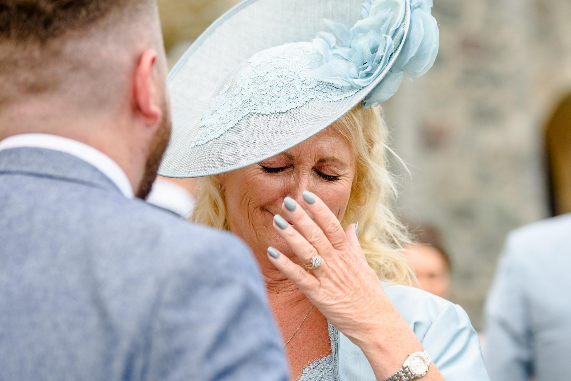 Mother of the bride getting emotional at Chateau Rhianfa