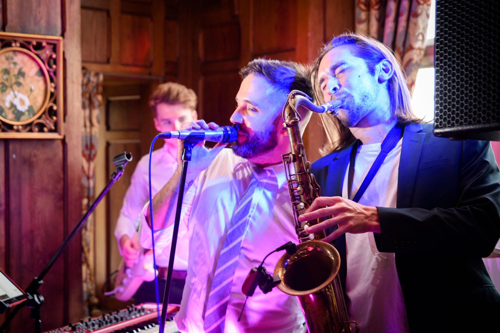 Wedding band at Chateau Rhianfa