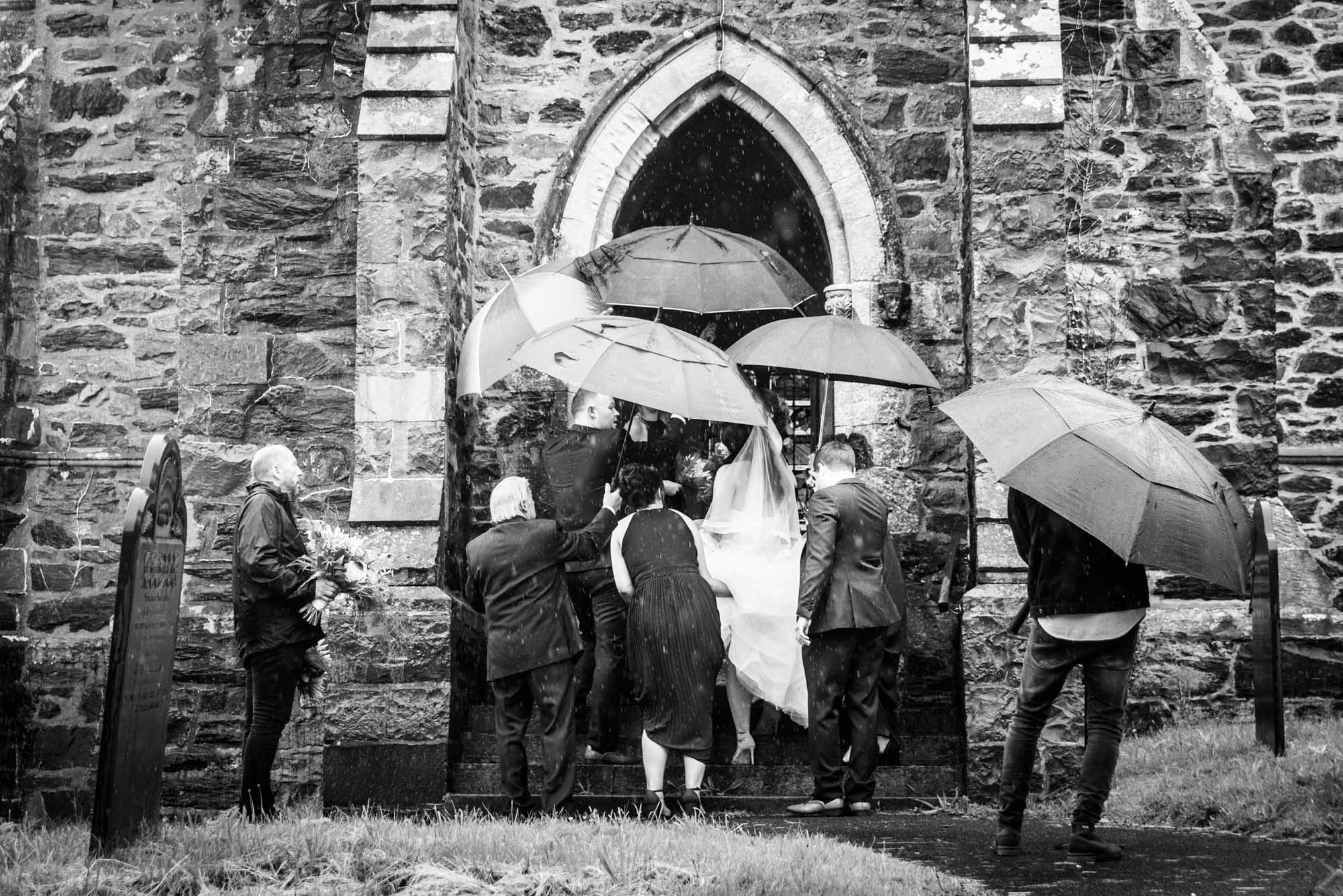 Arriving in the pouring rain at st mary's church in Llanfairpwllgwyngyll