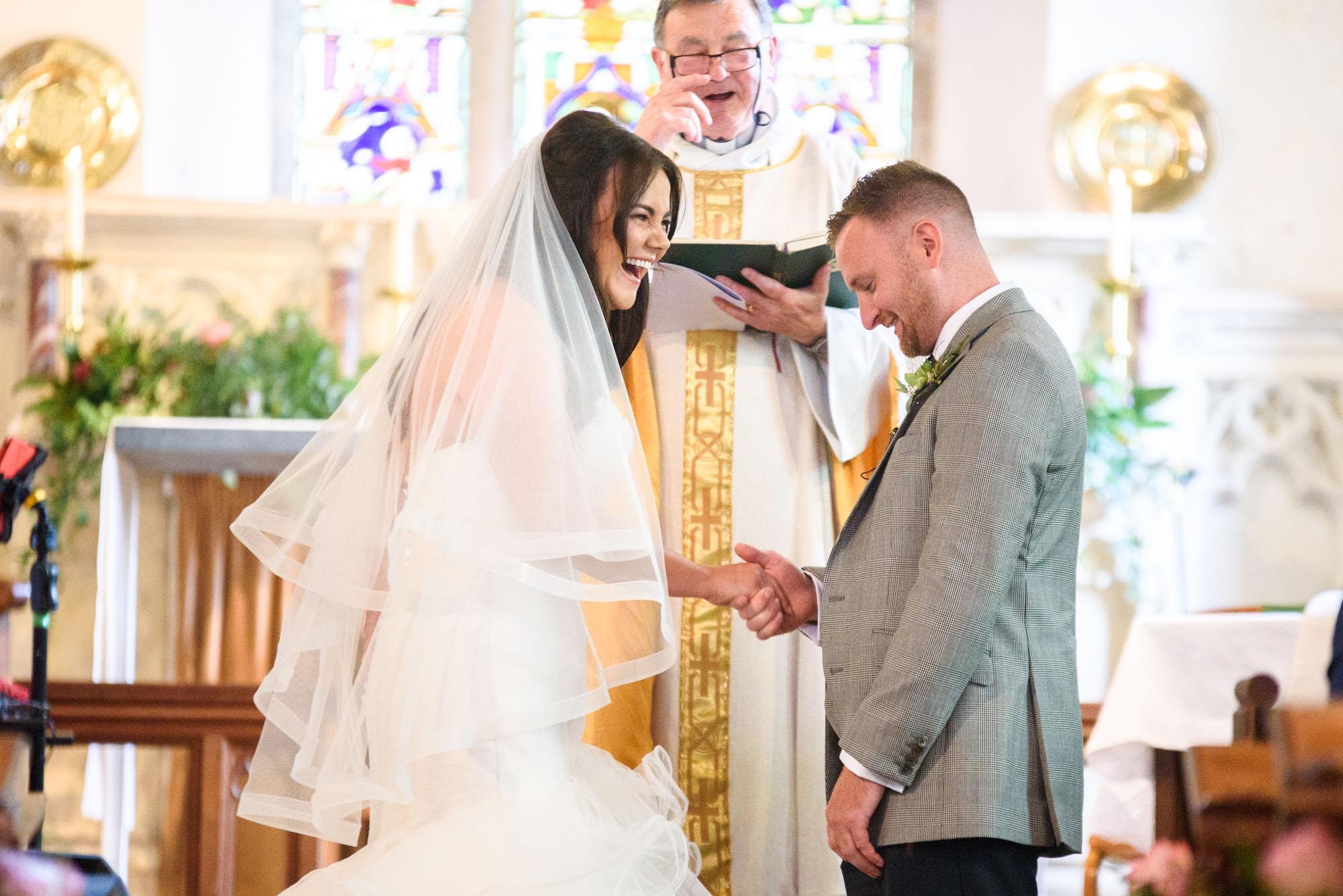 wedding ceremony at st mary's church in Llanfairpwllgwyngyll