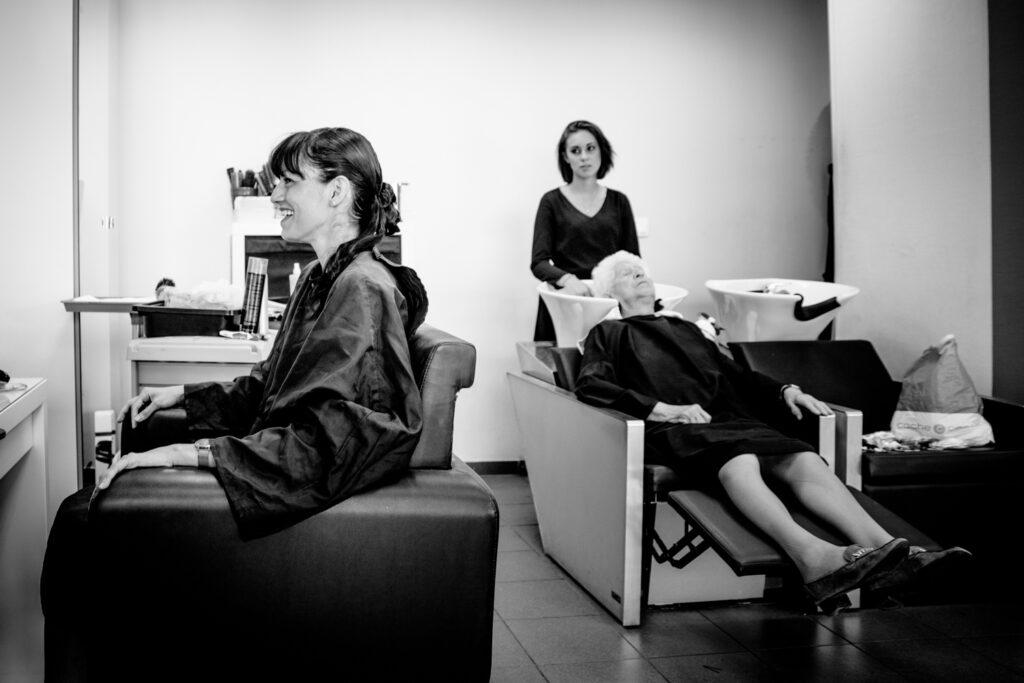 bride in hair salon