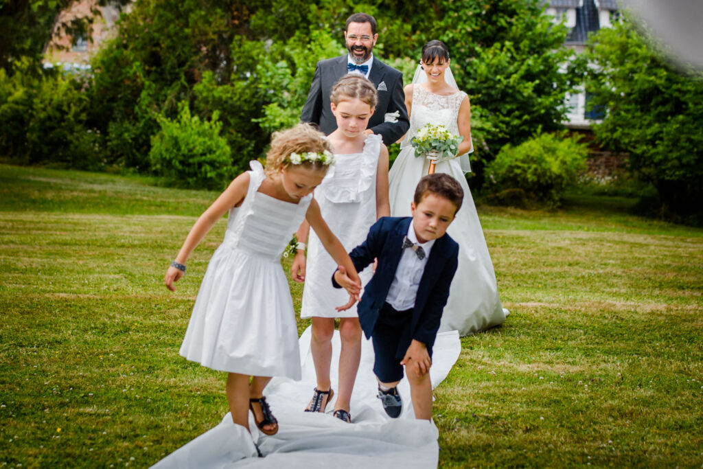 Kids tripping down the aisle