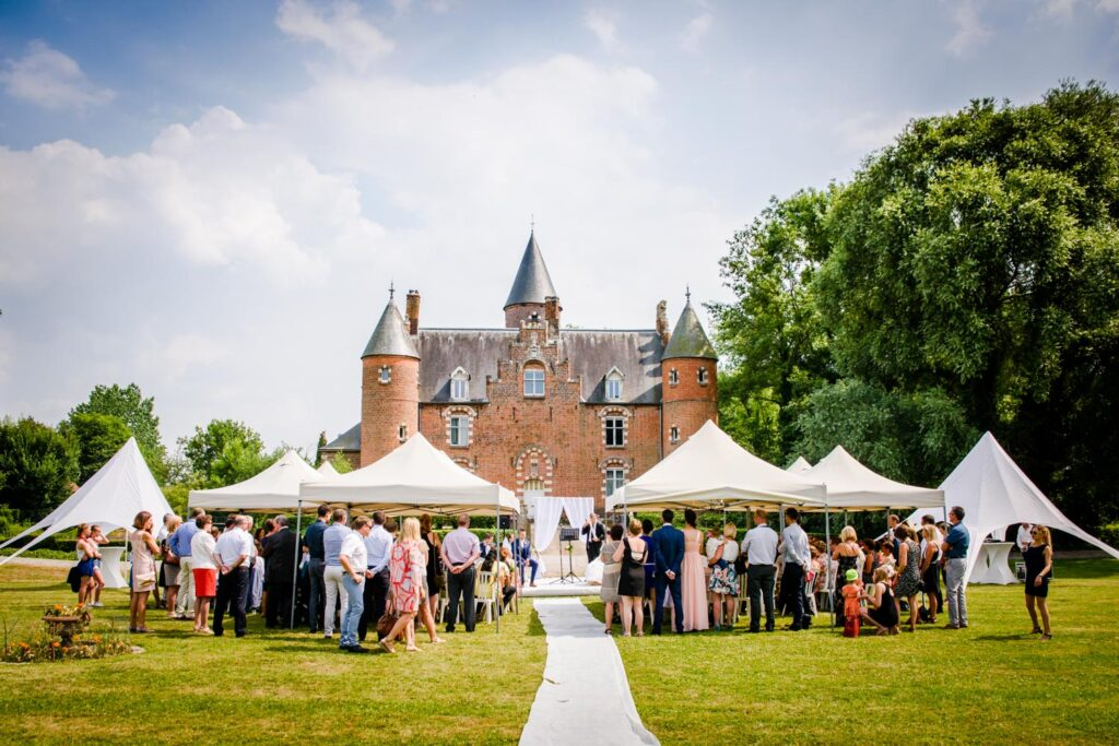 Wedding ceremony in front of chateau in France