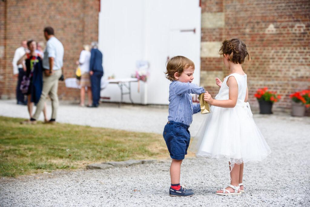 Children sharing sweets