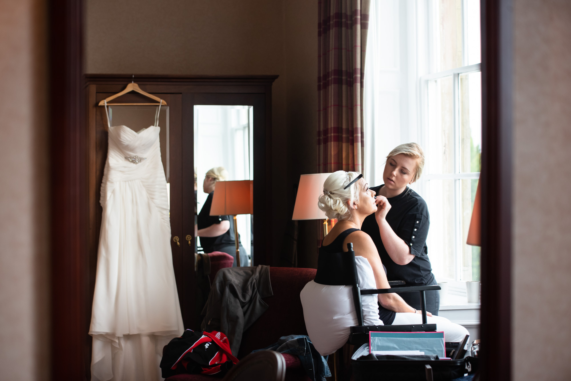 Bridal preparation in the executive suite at Shrigley Hall
