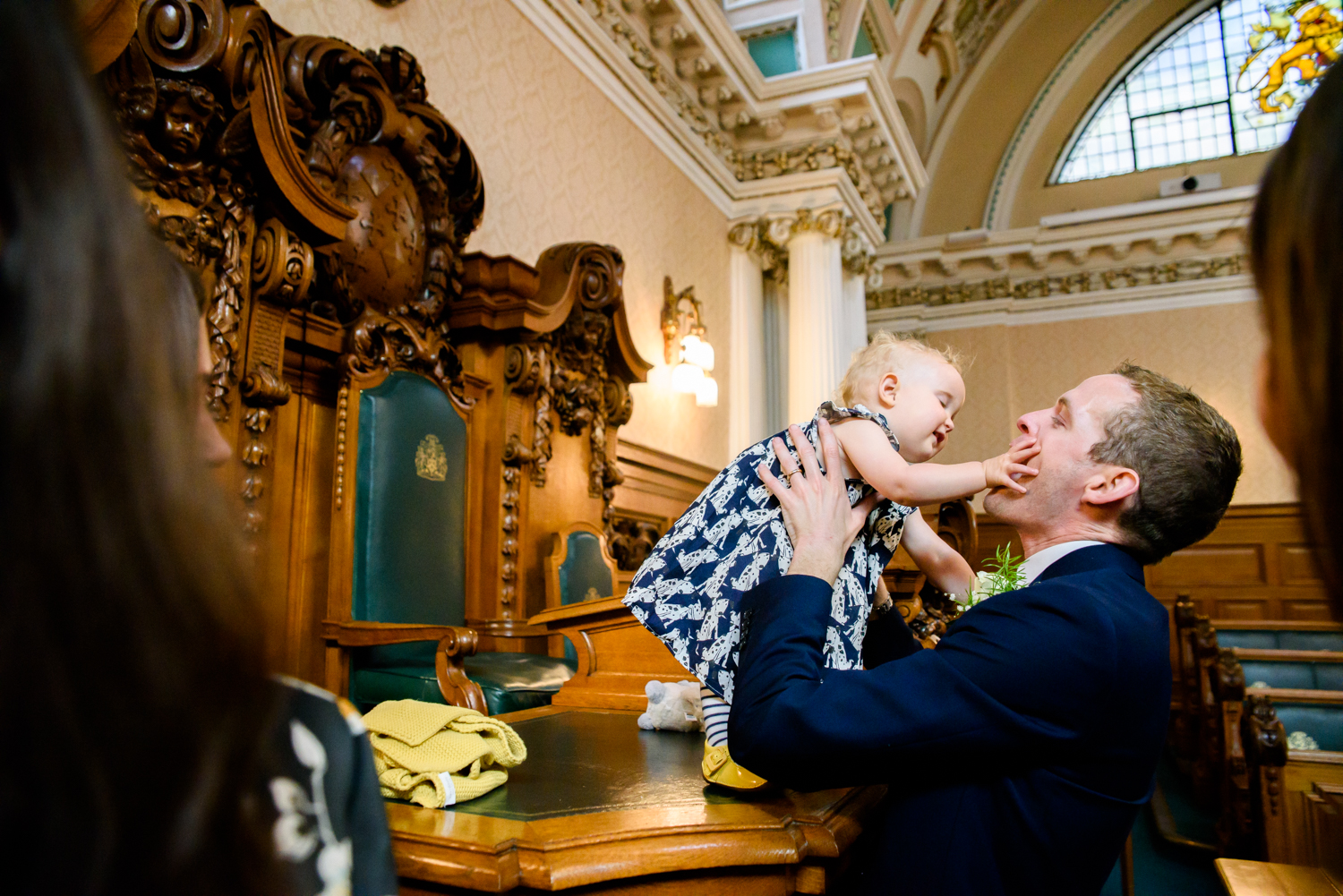 Toddler playing in Council Chamber Stockport