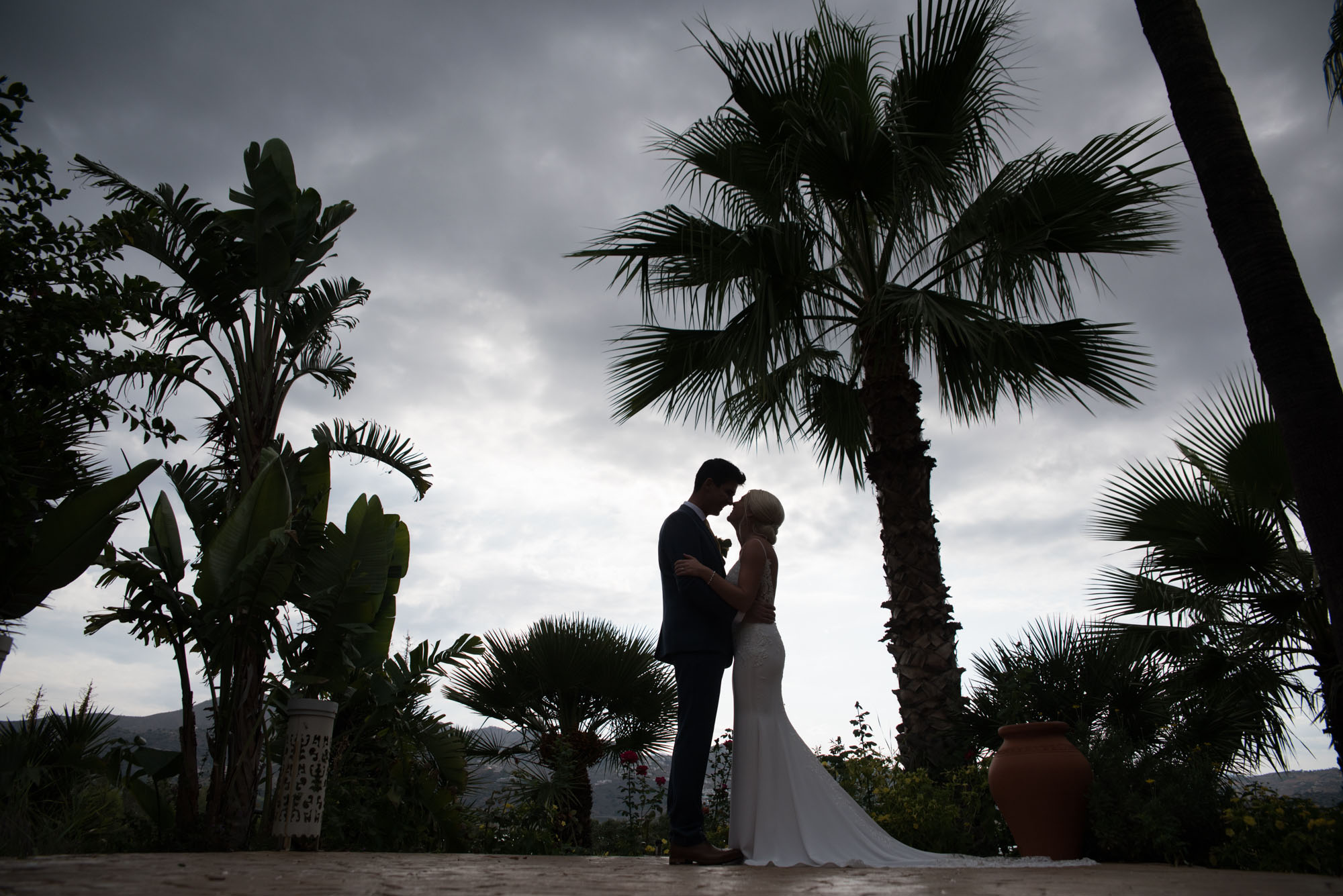 Bride and groom portrait in Spain