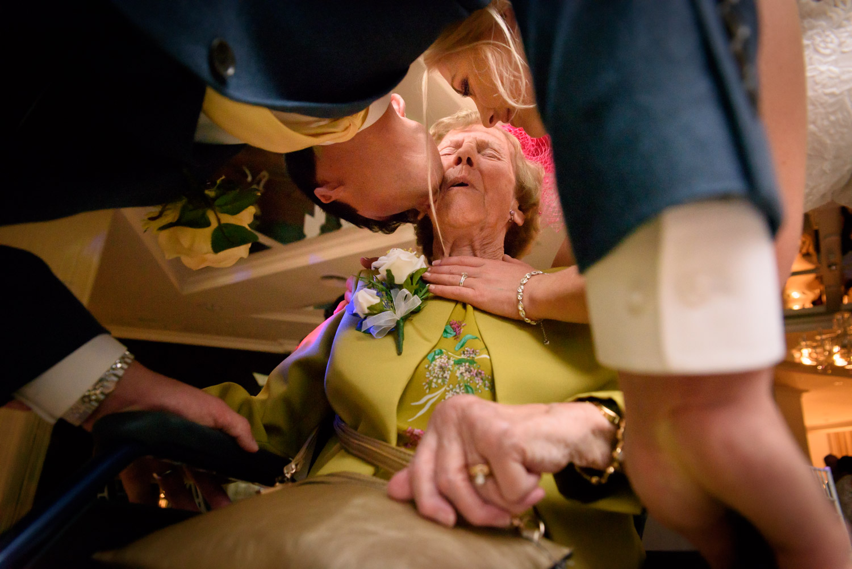 kissing grandma before leaving