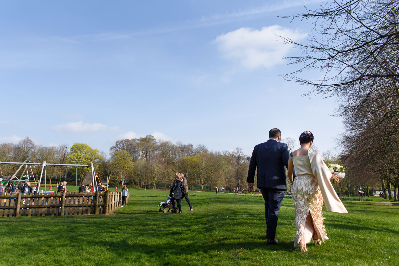 bride and groom walking in The Moor