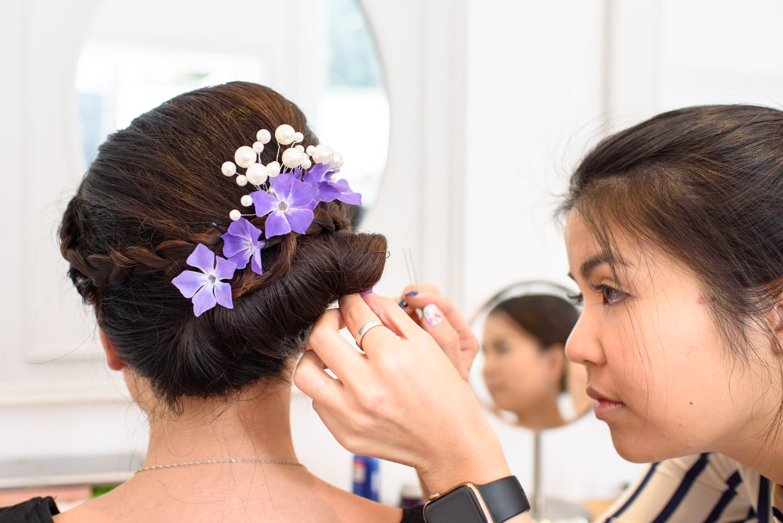 putting flower in hair
