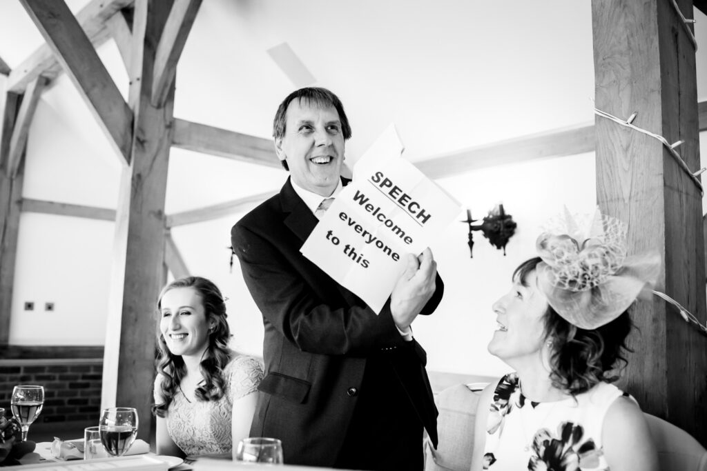 Father of the bride printed his speech in big